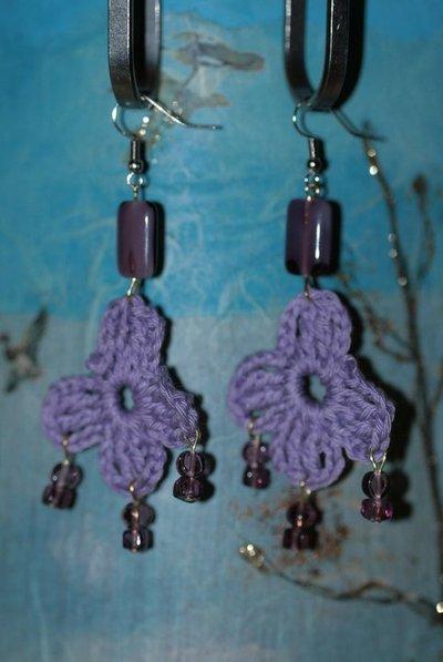 collana + orecchini uncinetto viola