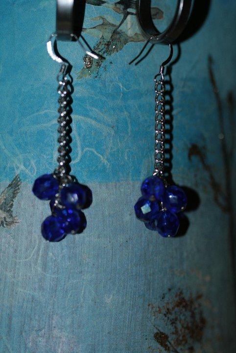orecchini blu grappolo