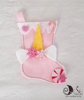 Calza della befana rosa Unicorno personalizzabile