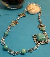 Collana handmade asimmetrica in acciaio e aulite