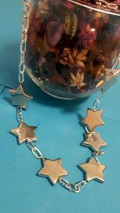 Collana handmade argentata con stelle