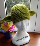 Cappello ad uncinetto, in lana, a forma di Yoda