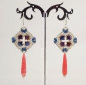 orecchini pendenti lunghi goccia pietra dura rosa di rodocrisite con perline qualità ceche