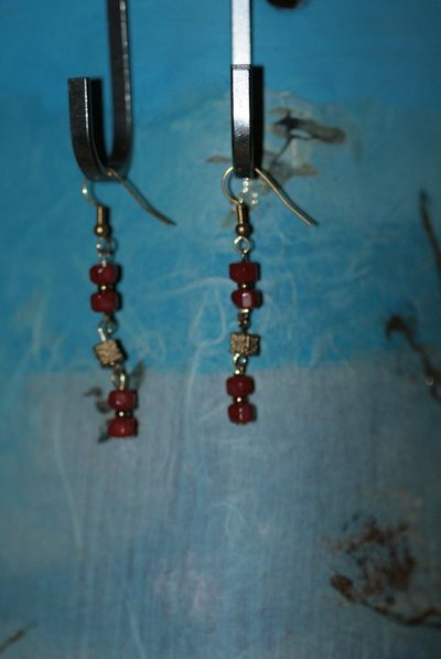 collana legno + orecchini red