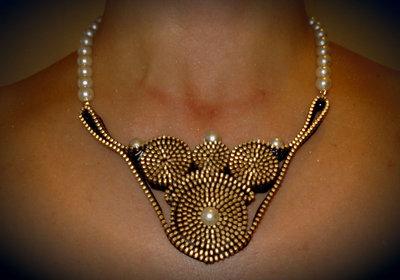 Collana Zip nera con perle