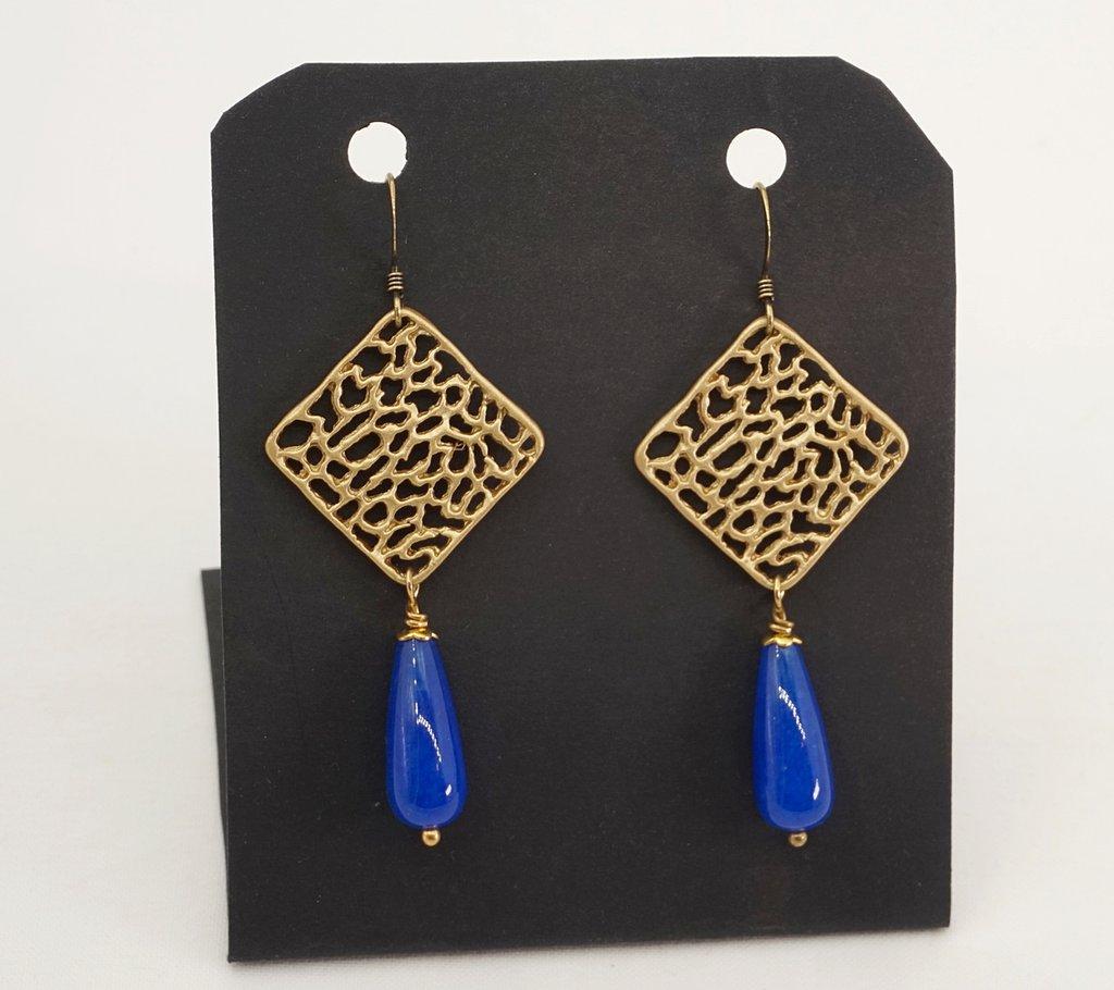 orecchini pendenti lunghi pietra dura giada blu connettore zama traforato regalino amica