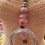 Collana regolabile in cotone cerato perle in ceramica greca artigianali ed alluminio