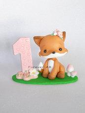 Cake topper primo compleanno bimba, cake topper Volpe