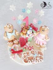 cake topper compleanno a natale personalizzabile gemellini pan di zenzero