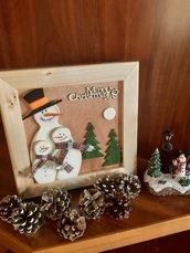 Scatola in Legno con decori natalizi in rilievo