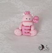 Cake topper ippopotamo rosa per bimba Animaletti Lettere personalizzabile
