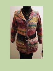 Cardigan donna multicolor con colletto