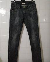 Jeans nero sbiadito slim vita bassa www.misshobby.com usato in donna moda abbigliamento sportivo