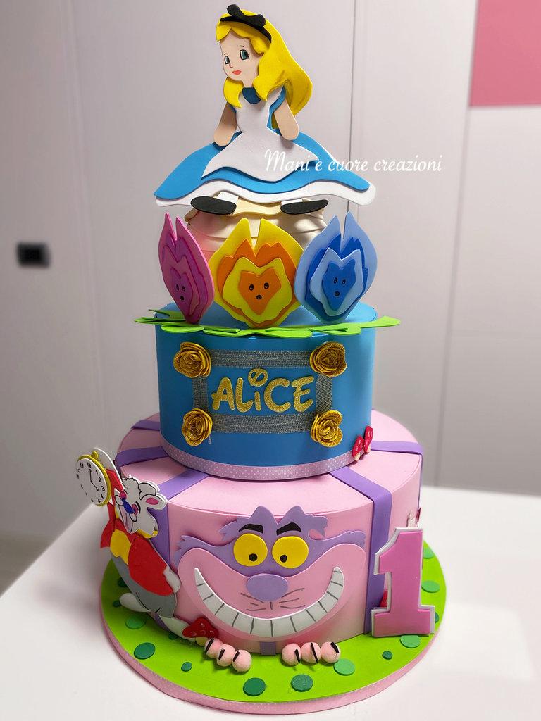 Torta scenografica Compleanno Alice nel paese delle meraviglie ❤️ Personalizzata