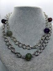 Collana lunga con catena e perle a  biglia
