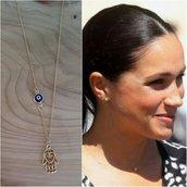 Collana meghan Markle ciondolo mano di fatima occhio blu protezione amuleto regalo oro