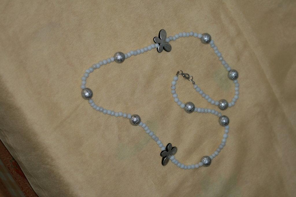 collana farfalle argento