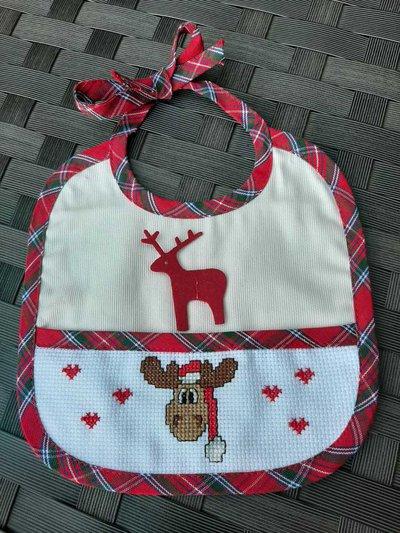 Bavaglino con renna di Natale