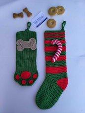 Coppia di calze della befana fatte a mano per amici dei cani