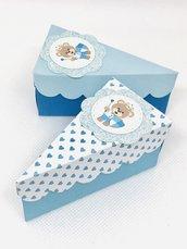 Scatoline orso porta confetti a forma di fetta di torta