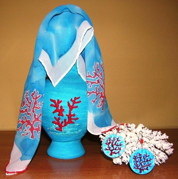 foulard georgette in seta mare e coralli