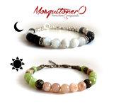 Bracciale uomo donna perle pietra Sole e Luna con Peridoto verde e Ossidiana nera, bracciali chakra,gioielli cristallo curativo