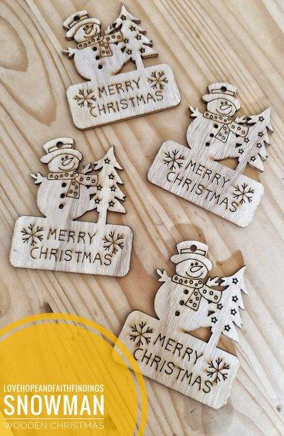1 PCS Pupazzo di neve in legno decorazione natalizia nascita anno nuovo  tag