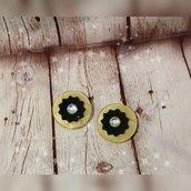 Orecchini bottone vintage resina giallo strass