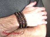 Bracciale uomo con perle in pietra Occhio di Tigre, bracciale pallini ,bracciale sfere, per lui stile etnico avvolgente