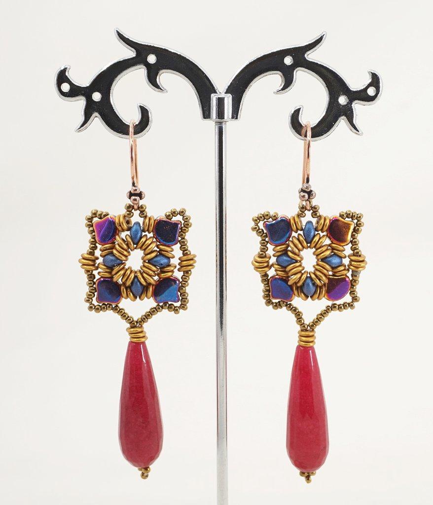orecchini pendenti lunghi pietra dura giada rubino perline di vetro regalo amica