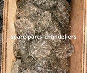 Box di 10 rosette o fiori, diametro 30 mm circa, color trasparente