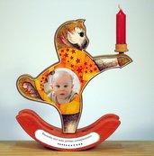 Cavallino con candelina e foto primo compleanno