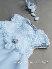 Abito bianco neonata/bambina - cotone, lino e tulle - fiore bianco/ecru - Battesimo