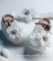 Scarpine e fascetta neonata/bambina - cotone, lino e tulle - bianco/ecru - Battesimo