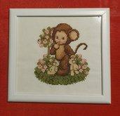 Quadro bambino scimmietta a punto croce
