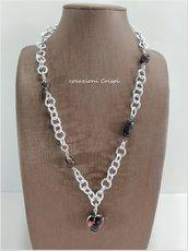 Collana perle al lume Murano, pietra lavica e vetro fusi insieme