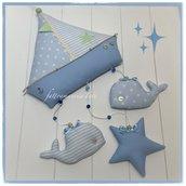 Fiocco nascita barca a vela in cotone con due balene ed una stella suo toni dell'azzurro