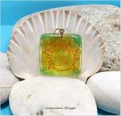 Ciondolo in vetro fusione, simbolo sole luna