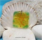 Ciondolo in vetro fusione, simbolo della Trinacria Sicilia