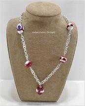 Collana perle di vetro Murano, tecnica al lume
