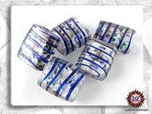 20 Perle Vetro Bianco Righe blu 25 x 20 x 5 mm - rettangolo