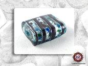 20 Perle Vetro Acqua Righe Nere -  25 x 20 x 5 mm - rettangolo