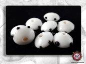 50 Perle Vetro - Disco Piatto: 15x8,5 mm - Bianca