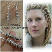 Orecchini vikings lagertha guerriera pendenti regalo tribali telefilm argento