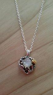 Ciondolo pietra di luna cuore fiori collana regalo argento amore amicizia