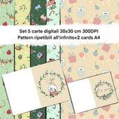 Carte digitali natalizie con due cards omaggio pattern ripetibili all'infinito