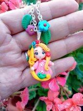 Principessa in fimo Raperonzolo, collana con  bambolina Rapunzel