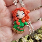 Merida the brave, dollina modellata a mano in fimo