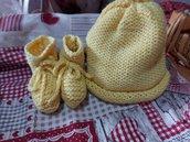 Completo baby neonato cappellino e scarpine