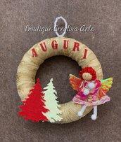 Ghirlanda di Natale con angioletto - decorazioni Natale - fuori porta